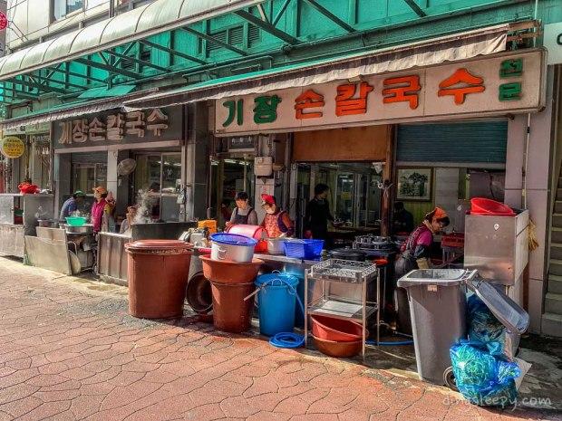 food in busan dingsleepy knife cut noodles shop
